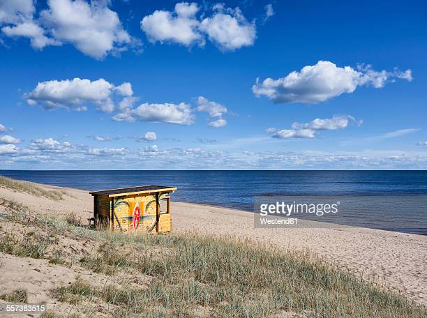 Estonia, Kauksi, kiosk at the beach of Lake Peipus
