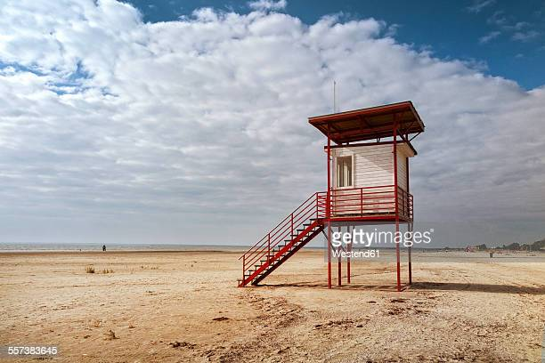 estonia, lifeguard hut at parnu beach - estland bildbanksfoton och bilder