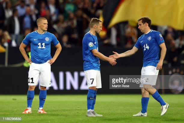 Estonia look on dejected at the final whistle during the UEFA Euro 2020 Qualifier match between Germany and Estonia at Opel Arena on June 11, 2019 in...