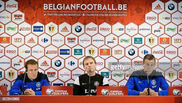 Estonia national football team's midfielder Konstantin Vassiljev head coach Martin Reim and goalkeeper Mihkel Aksalu attend a press conference on...