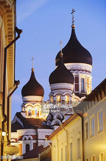 estonia, tallinn, alexander nevsky cathedral, dusk - travel14 stock pictures, royalty-free photos & images