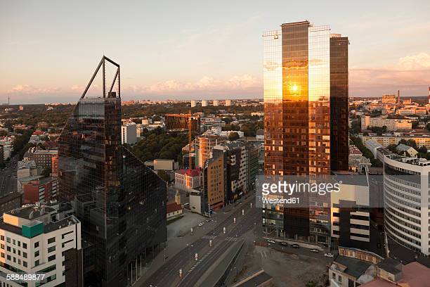 Estonia, Tallinn, Cityview at sunset
