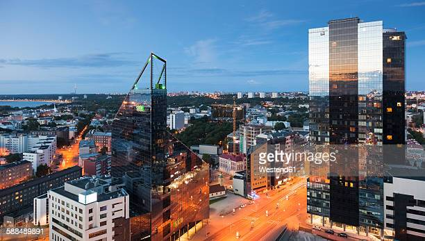 estonia, tallinn, cityview in the evening - estonia stock pictures, royalty-free photos & images
