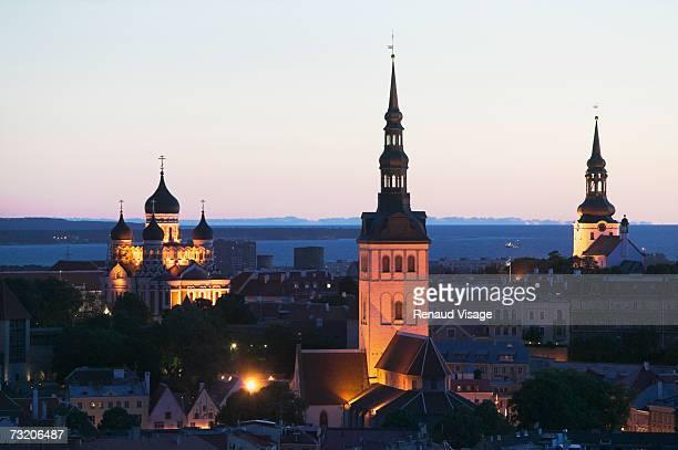Estonia, Tallinn, skyline at dusk