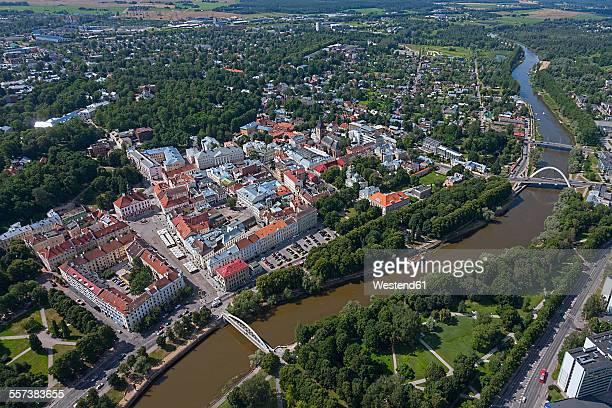 Estonia, Tartu, cityscape of old town with River Emajogi