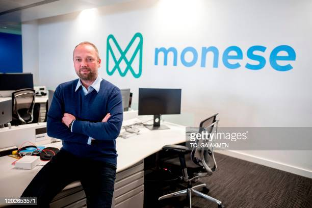 Estonia-born entrepreneur Norris Koppel, founder and CEO of mobile phone app-based 'neo-bank', Monese poses at the company's offices in London on...