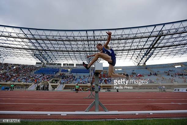 STADIUM HERAKLION ATTICA GREECE Estonian 3000 metres steeplechase runner Kaur Kivistik jumps over the obstacle at the 2015 European Athletics Team...