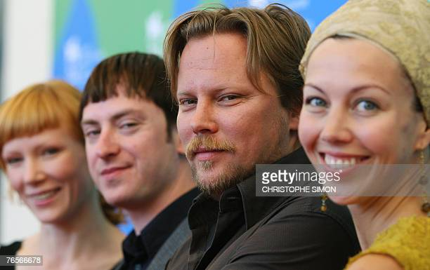 Estonian director Veiko 'unpuu poses with Estonian actors Maarja Jakobson Rain Tolk and Estonian producer Katrin Kissa during a photocall of Sgisball...