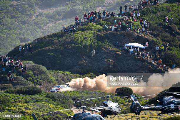 Estonian driver Ott Tanak and Estonian co-driver Martin Jarveoja steer their Toyota Yaris WRC during the Argentiera SS17 stage on the fourth day of...