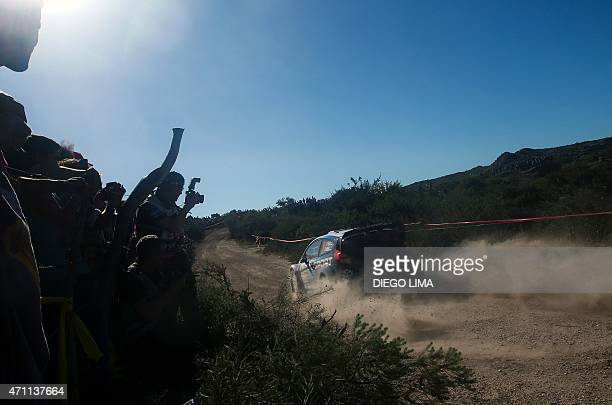 Estonian driver Ott Tanak steers his Ford Fiesta RS WRC with his compatriot codriver Raigo Molder during the ss9 of the WRC Argentina 2015 near...