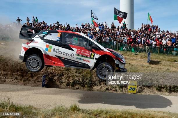 TOPSHOT Estonian driver Ott Tanak steers his Toyota Yaris WRC with Estonian codriver Martin Jarveoja during the SS17 stage of the Rally of Portugal...