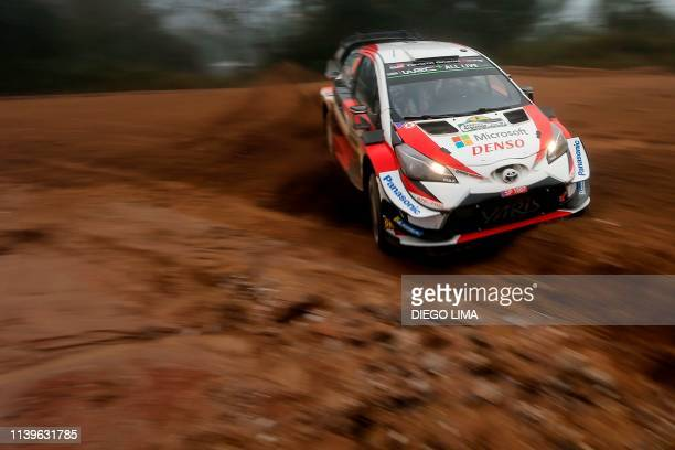 Estonian driver Ott Tanak steers his Toyota Yaris WRC with his compatriot codriver Martin Jarveoja during the ss9 of the WRC Argentina 2019 near...