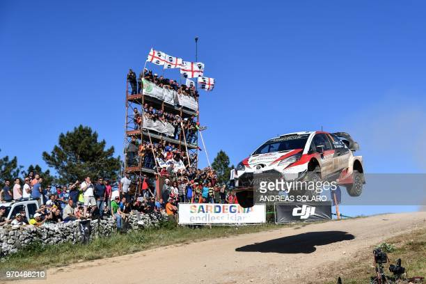Estonian driver Ott Tanak steers his Toyota Yaris WRC with his codriver Martin Jarveoja during the Micky's Jumps at Monte Lerno on the third day of...