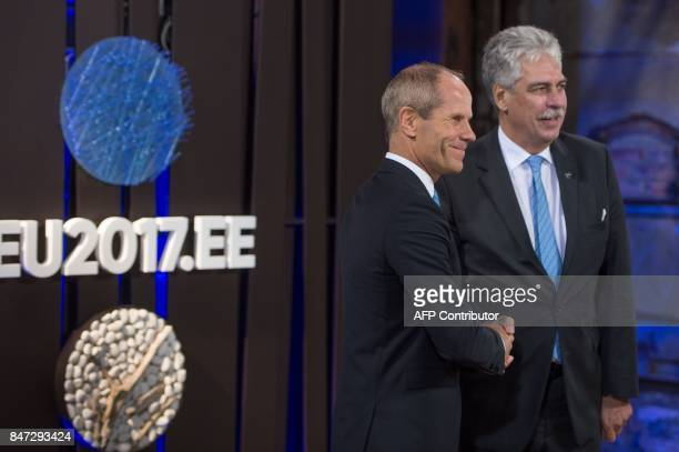 Estonian Finance Minister Toomas Toniste welcomes Austria's Finance Minister Johann Georg Schelling ahead of an informal meeting of the Eurozone...