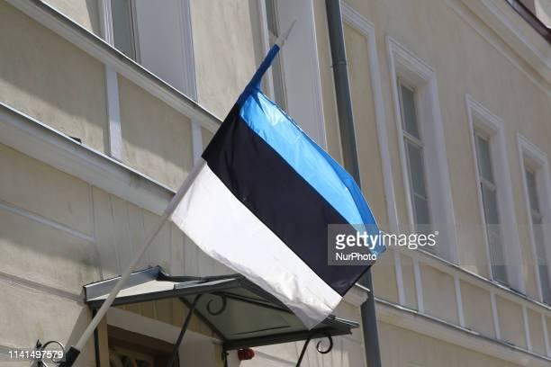 Estonian flag on the wind are seen in Tallinn, Estonia on 30 April 2019