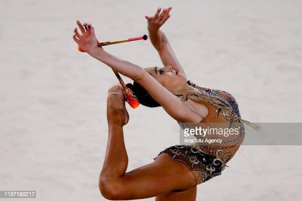 Estonian individual Polina Murashko rhythmic gymnast performs final during the 1st FIG Rhythmic Gymnastics Junior World Championships at Rhythmic...
