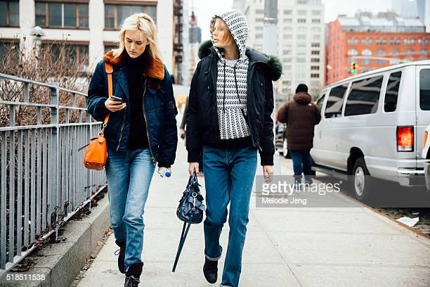 Estonian models Harleth Kuusik and Alexandra Elizabeth Ljadov after the Michael Kors show at Spring Studios during New York Fashion Week Women's...
