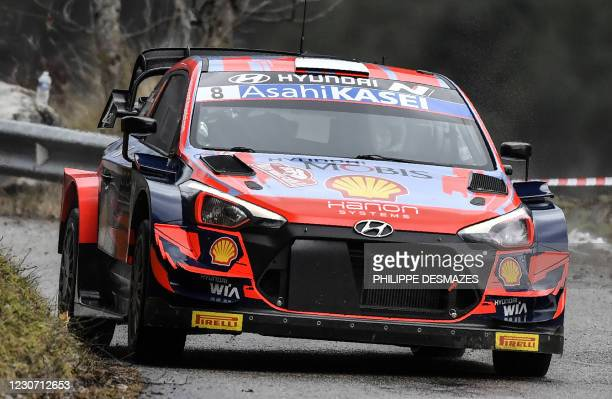 Estonian Ott Tanak and his co-pilot Estonian Martin Jarveoja steer their Hyundai Shell Mobis World Rally Team during the ES 1 of the first stage of...