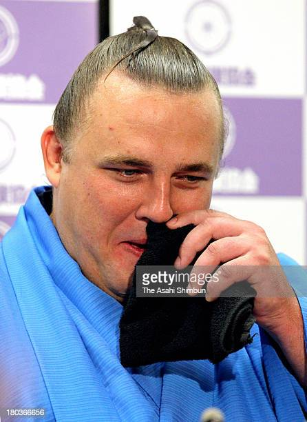 Estonian Ozeki second highest rank in sumo Baruto whose real name is Kaido Hoovelson speaks during his retirement press conference on September 11...