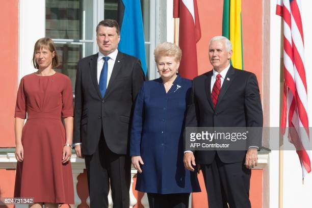 Estonian President Kersti Kaljulaid Latvia's President Raimonds Vejonis Lithuania's President Dalia Grybauskaite and US VicePresident Mike Pence pose...
