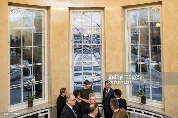 Estonian President Kersti Kaljulaid meets with Japanese Prime Minister Shinzo Abe and members of his delegation on January 12 2018 in Tallinn Estonia...