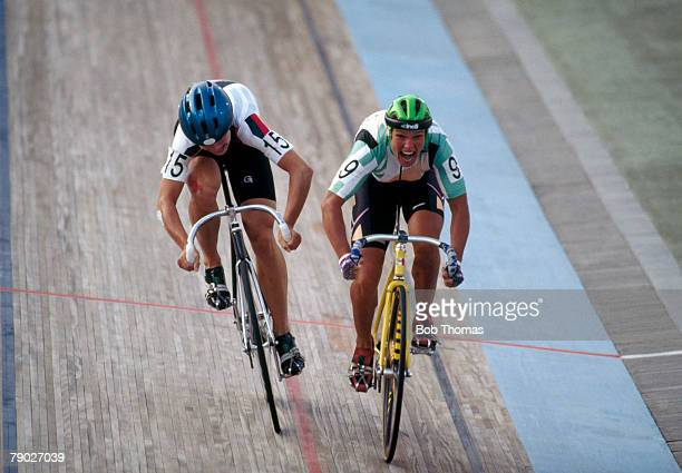 Estonian racing cyclist Erika Salumae pictured in action racing against Annett Neumann of Germany in the gold medal match to finish in first place to...