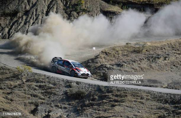 TOPSHOT Estonian rally driver Ott Tanak and codriver Martin Jarveoja of Toyota Gazoo Racing WRT compete during the second stage of the FIA World...