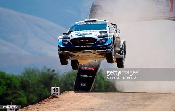 Estonian rally driver Teemu Suninen and Estonian co-driver Jarmo Lehtinen of the Ford Fiesta WRT drive, compete during the third stage of the FIA...