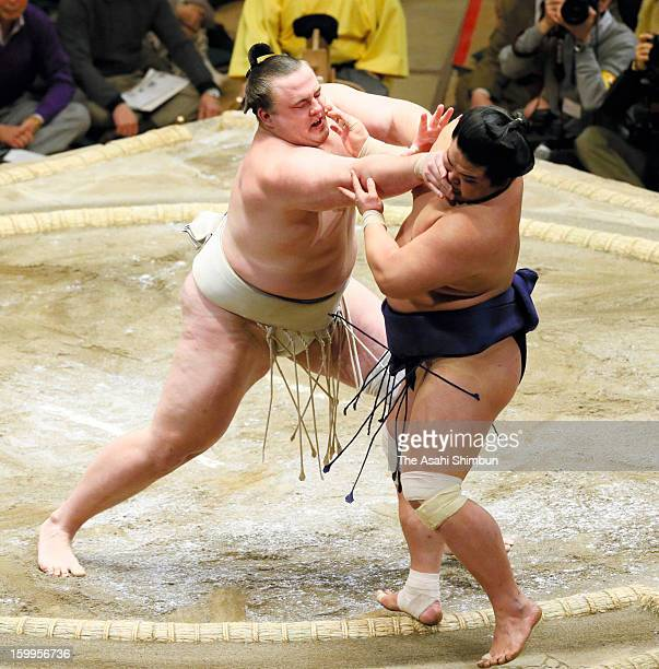 Estonian wrestler Baruto whose real name is Kaido Hoovelson pushes out Myogiryu to win day eleven of the Grand Sumo New Year Tournament at Ryogoku...