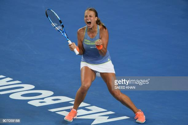 Estonia's Anett Kontaveit celebrates beating Latvia's Jelena Ostapenko in their women's singles third round match on day five of the Australian Open...