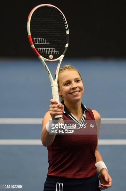 Estonia's Anett Kontaveit celebrates winning against Czech Republic's Petra Kvitova in their women's singles semi-final match of the Ostrava Open WTA...