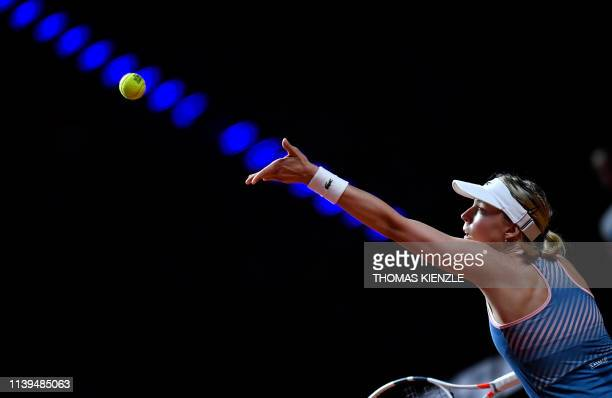 Estonia's Anett Kontaveit serves the ball to Belarus' Victoria Azarenka during their quarterfinal match at the WTA Tennis Grand Prix in Stuttgart,...