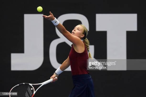 Estonia's Anett Kontaveit serves the ball to Czech Republic's Petra Kvitova in their women's singles semi-final match of the Ostrava Open WTA tennis...