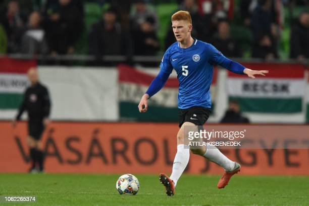 Estonia's defender Madis Vihmann plays the ball during the UEFA Nations League football match between Hungary and Estonia in Budapest on November 15...