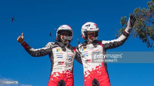 TOPSHOT Estonia's Driver Ott Tanak and his compatriot codriver Martin Jarveoja celebrate winning the WRC Chile 2019 in Concepcion Chile on May 12 2019