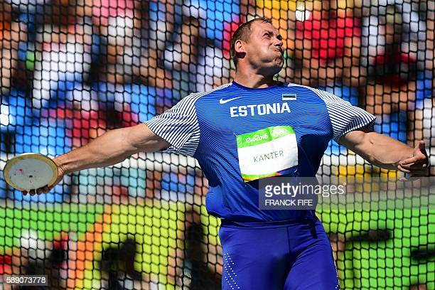 Estonia's Gerd Kanter competes in the Men's Discus Throw Final during the athletics event at the Rio 2016 Olympic Games at the Olympic Stadium in Rio...