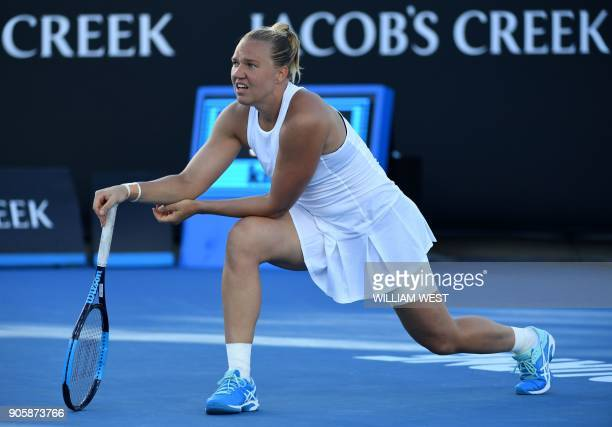 Estonia's Kaia Kanepi reacts after a point against Puerto Rico's Monica Puig during their women's singles second round match on day three of the...