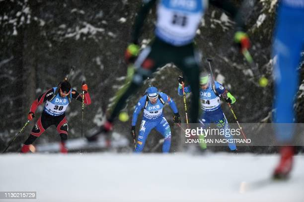 Estonia's Kalev Ermits competes in the men's 20km individual event at the IBU Biathlon World Championships in Ostersund Sweden on March 13 2019