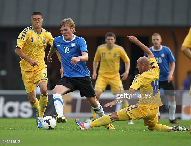 Estonia's national football team player Joonas Tamm fights for the ball with Ukraine's national football team player Serhiy Nazarenko during the...