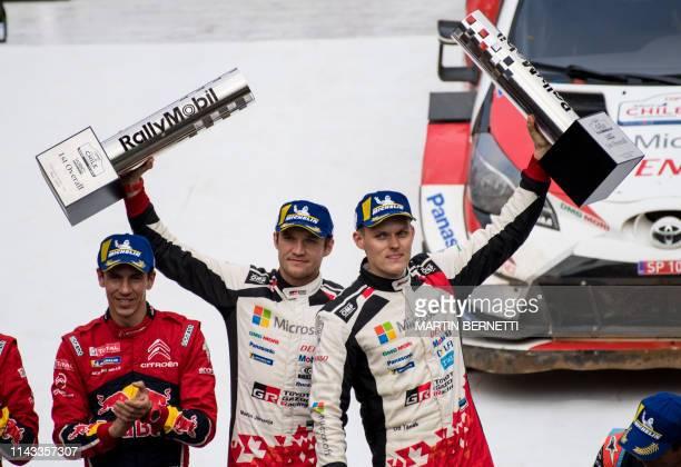 Estonia's Ott Tanak driver and his compatriot Martin Jarveoja codriver celebrate on the final second podium of the WRC Chile 2019 in Concepcion Chile...