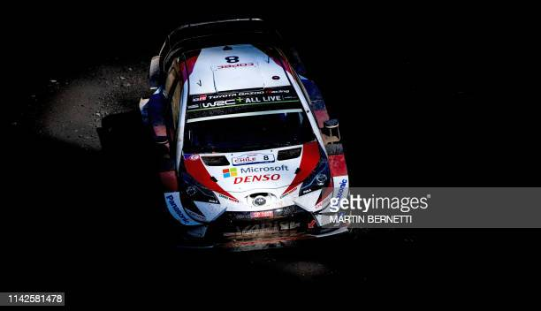 TOPSHOT Estonia's Ott Tanak driver steers his Toyota Gazzo WRC with his compatriot codriver Martin Jarveoja during the SSE2 of the WRC Chile 2019...