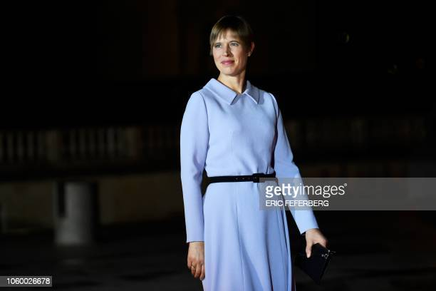 Estonia's President Kersti Kaljulaid looks on as she arrives at the Musee d'Orsay in Paris on November 10, 2018 to attend a state diner and a visit...