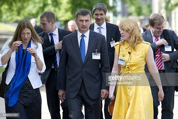 Estonia's Prime Minister Andrus Ansip arrives to the Baltic Development Forum summit on June 18 2012 in Copenhagen The event which runs from June 17...