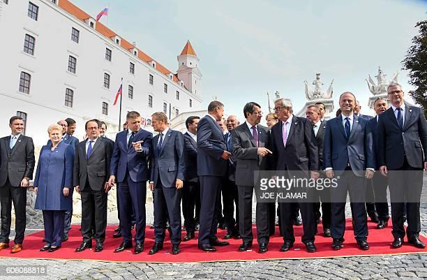 Estonia's Prime minister Taavi Roivas Lithuania's President Dalia Grybauskaite France's President Francois Hollande Slovakia's Prime minister Robert...