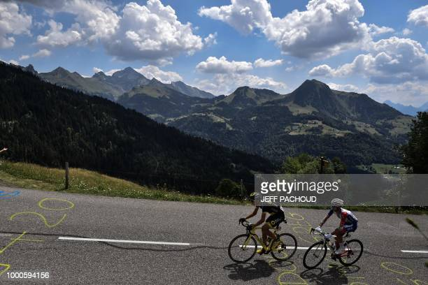 Estonia's Rein Taaramae and France's Rudy Molard ride during their breakaway in the tenth stage of the 105th edition of the Tour de France cycling...