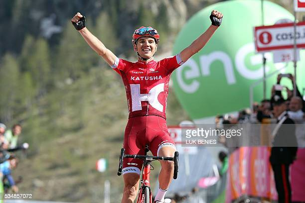 Estonia's Rein Taaramae of team Katusha celebrates as he crosses the finish line to win the 20th stage of the 99th Giro d'Italia Tour of Italy from...