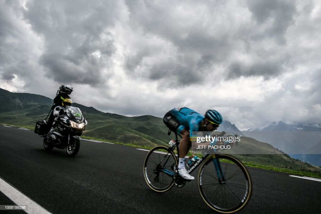 Estonia's Tanel Kangert, rides down the first pass during a breakaway in the 17th stage of the 105th edition of the Tour de France cycling race, between Bagneres-de-Luchon and Saint-Lary-Soulan Col du Portet, southwestern France, on July 25, 2018.