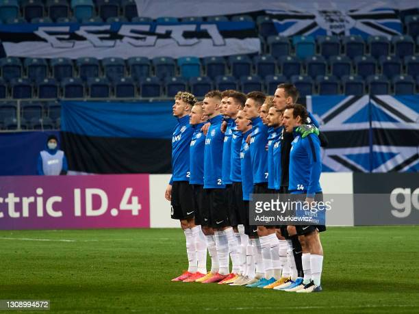 Estonia's team line up during the national anthem during the FIFA World Cup 2022 Qatar qualifying match between Estonia and Czech Republic on March...