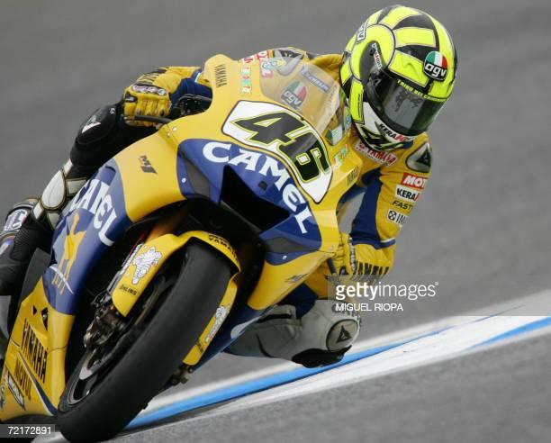 Italian Valentino Rossi rides his Yamaha during the Moto GP race for the Grand Prix in Estoril, 15 October 2006. Spanish rider Toni Elias won the...