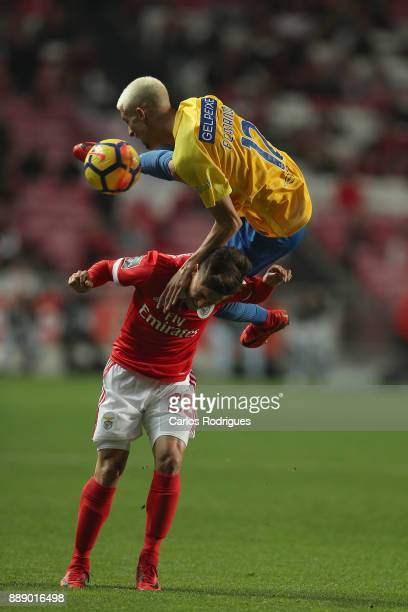 Estoril Praia defender Fernando Fonseca from Portugal tackles Benfica's forward Franco Cervi from Argentina during the match between SL Benfica and...